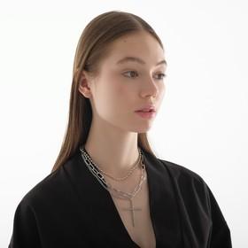"""Кулон """"Цепь"""" бусина из жемчуга с крестом, цвет белый в серебре, 45см"""