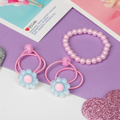 """A set of children's """"Vibracula"""" 3 pre-TA: 2 rubber bands, bracelet, flowers, MIX color"""