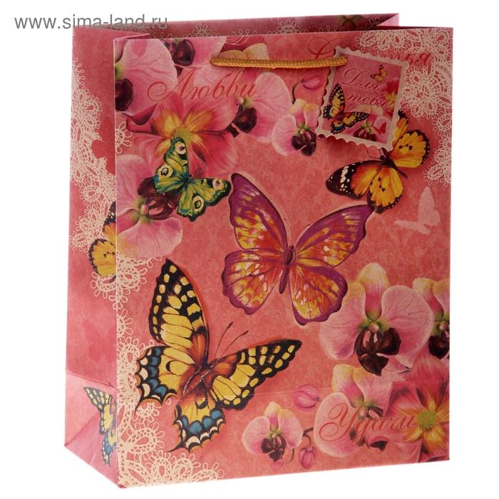 """Пакет крафт """"Бабочки Счастья, Любви, Удачи"""""""
