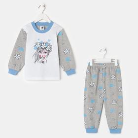 Пижама для девочки, цвет серый/ромашки, рост 104 см