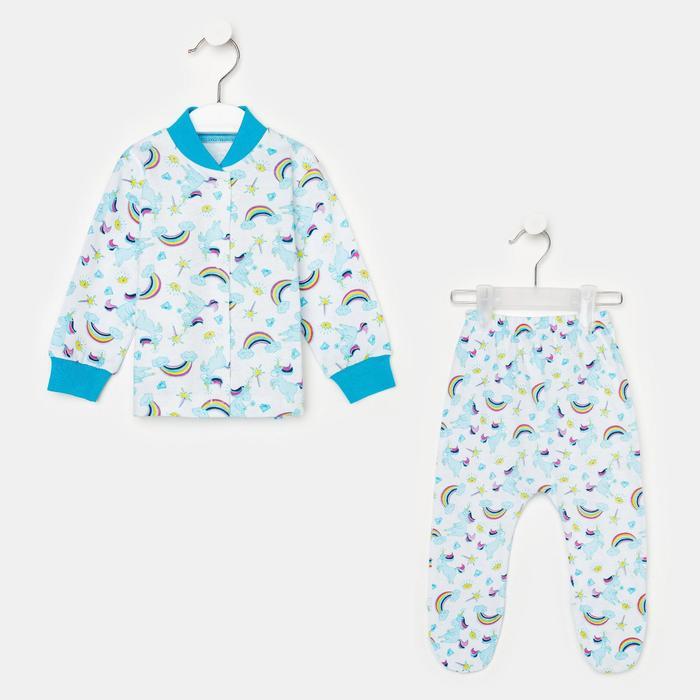 Комплект детский (кофточка/ползунки), цвет МИКС, рост 62 см - фото 106531871