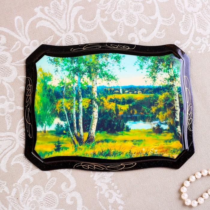 Панно «Пейзаж», 16×22 см, лаковая миниатюра, микс