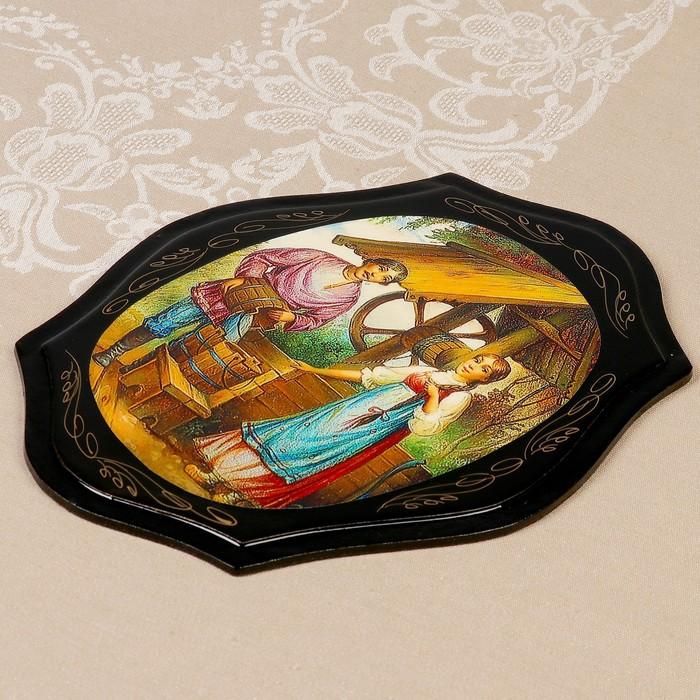 Панно «Цветы», лаковая миниатюра, 21×27 см,  микс