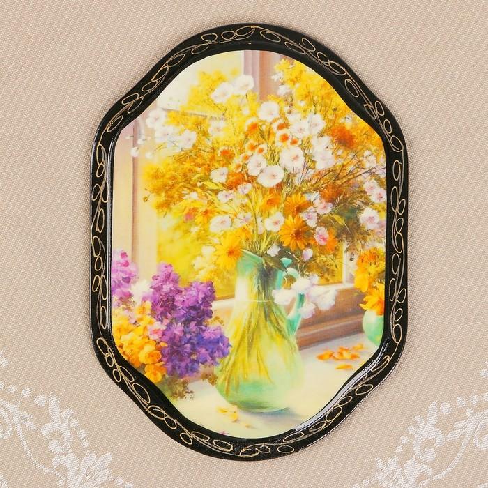 Панно «Цветы», 16×22 см, лаковая миниатюра, микс