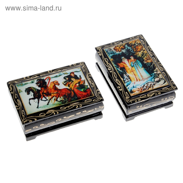 Шкатулка лаковая миниатюра 6х9 см Сказки микс