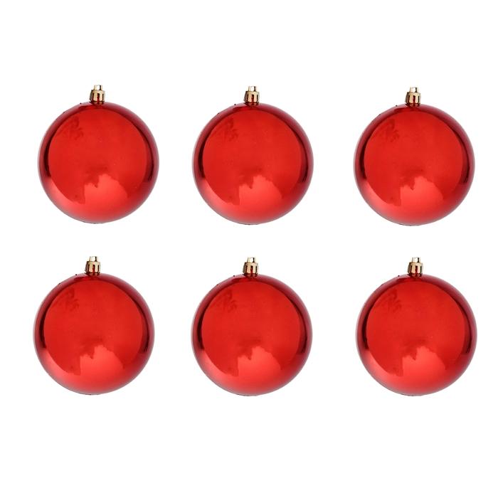 """Новогодние шары """"Красный глянец"""" (набор 6 шт.)"""