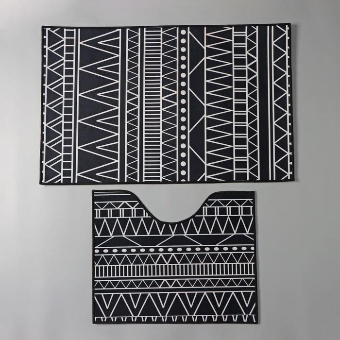 Набор ковриков для ванны и туалета Доляна «Марокканский», 2 шт: 50×80, 40×50 см, цвет чёрно-белый - фото 7930558