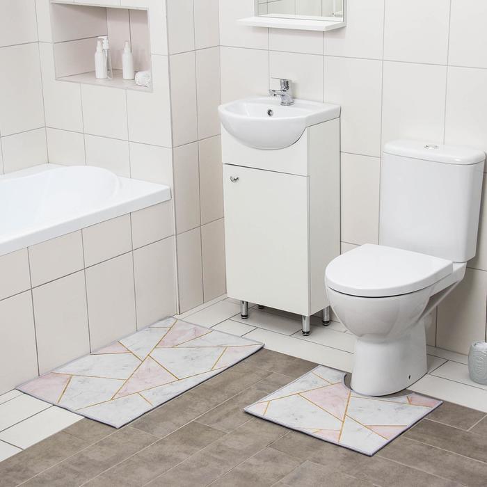 Набор ковриков для ванны и туалета Доляна «Гео», 2 шт: 50×80, 40×50 см, цвет розово-серый - фото 7930570