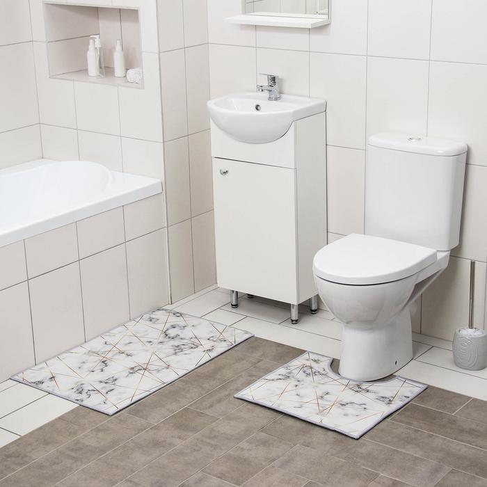 Набор ковриков для ванны и туалета Доляна «Мрамор», 2 шт: 50×80, 40×50 см - фото 7930578
