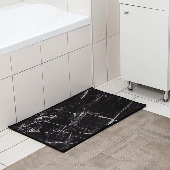 Коврик Доляна «Мрамор», 50×80 см, цвет чёрный - фото 7930586