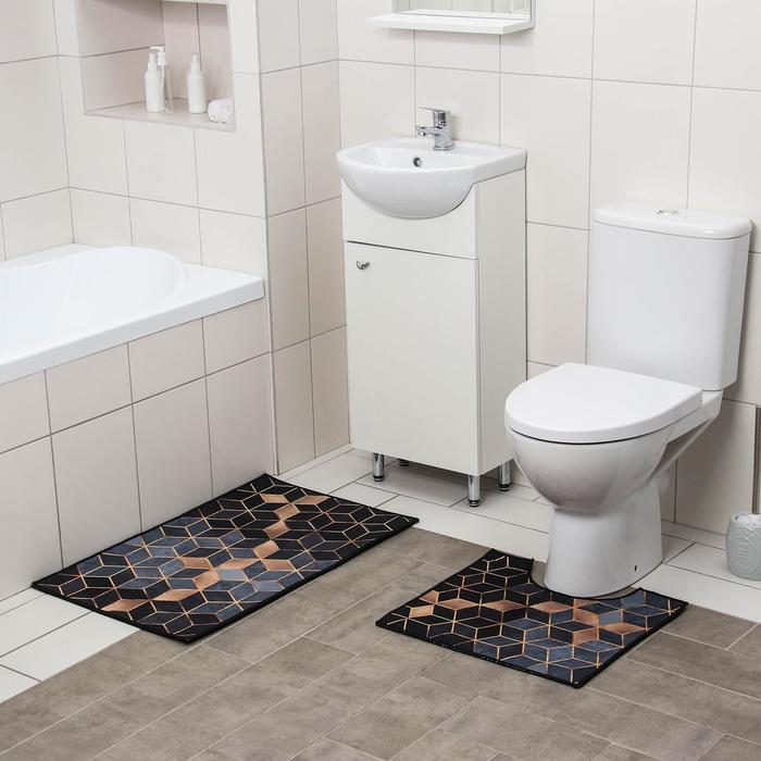 Набор ковриков для ванны и туалета Доляна «Бурлеск», 2 шт: 50×80, 40×50 см - фото 7930590