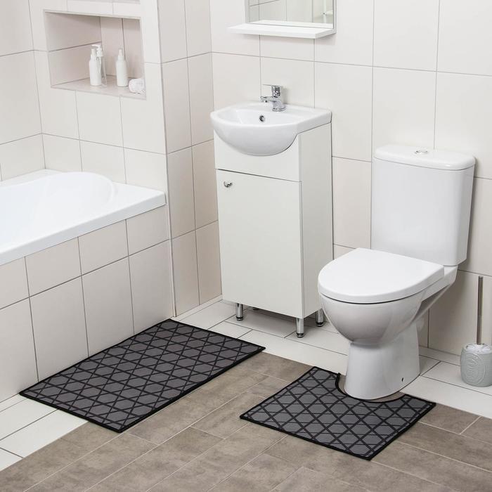 Набор ковриков для ванны и туалета Доляна «Сарин», 2 шт: 50×80, 40×50 см - фото 7930594