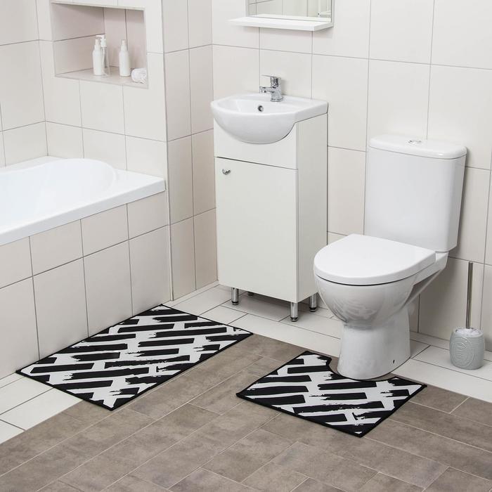 Набор ковриков для ванны и туалета Доляна «Готланд», 2 шт: 50×80, 40×50 см, цвет чёрно-белый - фото 7930598