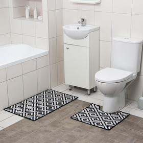 Набор ковриков для ванны и туалета Доляна «Грета», 2 шт: 50×80, 40×50 см, цвет чёрно-белый
