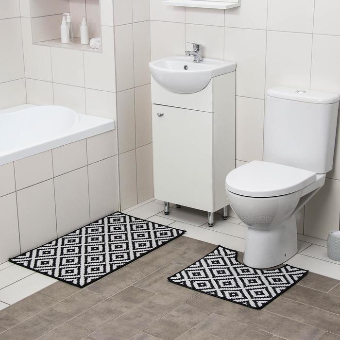 "Set of floor mats for the bath and toilet 2 PCs 50 × 80, 40 × 50 cm ""Greta"""