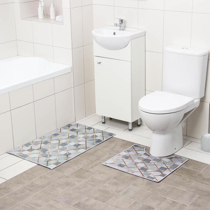 Набор ковриков для ванны и туалета Доляна «Котто», 2 шт: 50×80, 40×50 см, цвет серый - фото 7930610