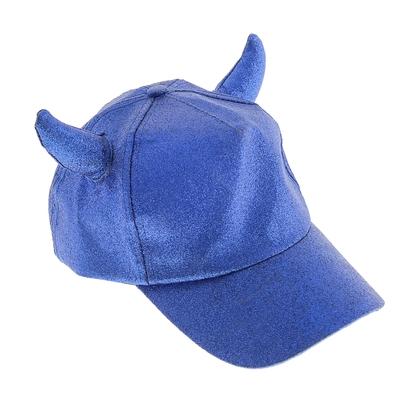 Карнавальная бейсболка с рогами, синяя, блестящая