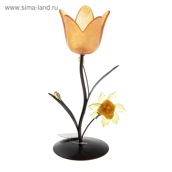 """Подсвечник """"Весенний тюльпан"""", цвет оранжевый"""