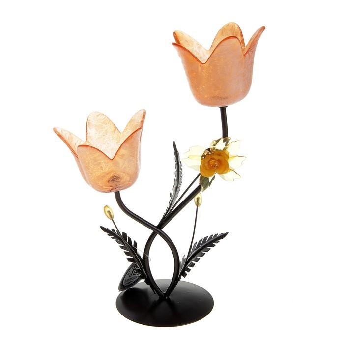 """Подсвечник на 2 свечи """"Весенний тюльпан"""", цвет оранжевый"""