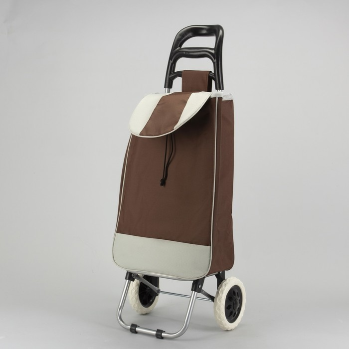 Сумка хозяйственная на колёсах, отдел на шнурке, нагрузка до 25 кг, цвет коричневый