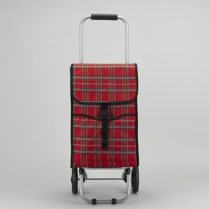 Сумка хозяйственная на тележке, отдел, 2 наружных кармана, нагрузка до 15 кг, цвет красный