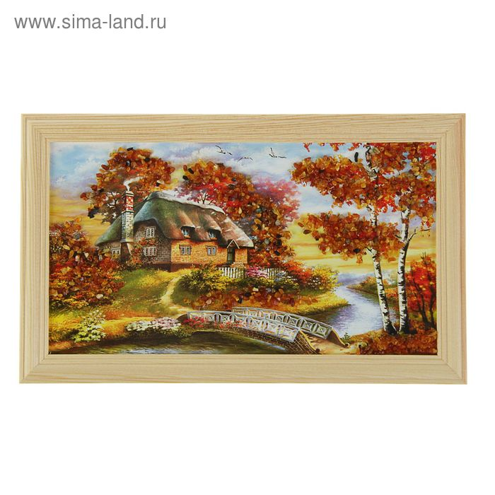 """Картина """"Пейзаж с домиком, мостом, лодкой"""" МИКС"""
