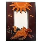 Зеркало Лошади овальное дерево UMH03