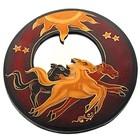 Зеркало Лошади круглое дерево UMH05