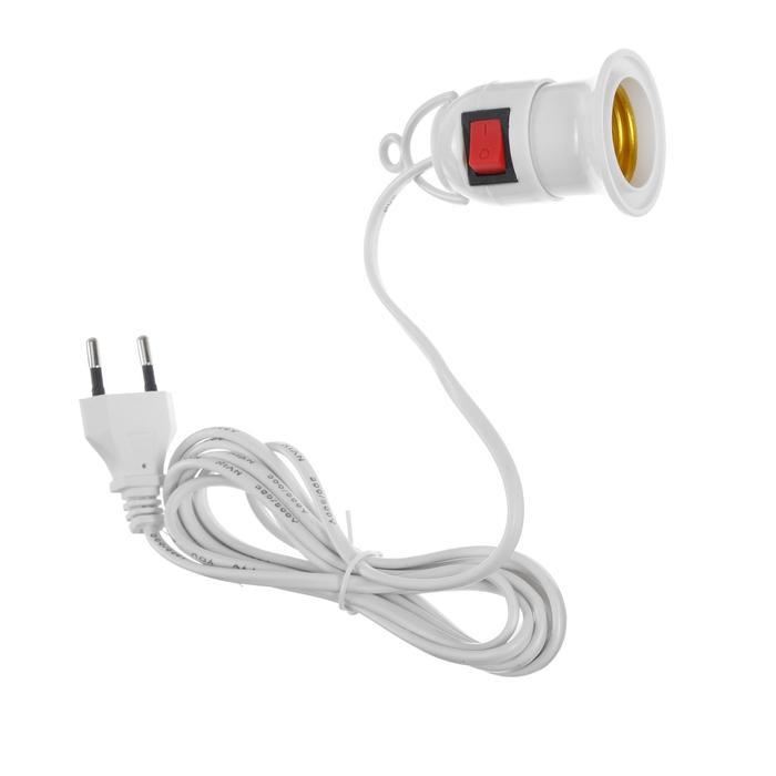 Патрон подвесной для фитоламп с выключателем, Е27, провод 2 м, белый