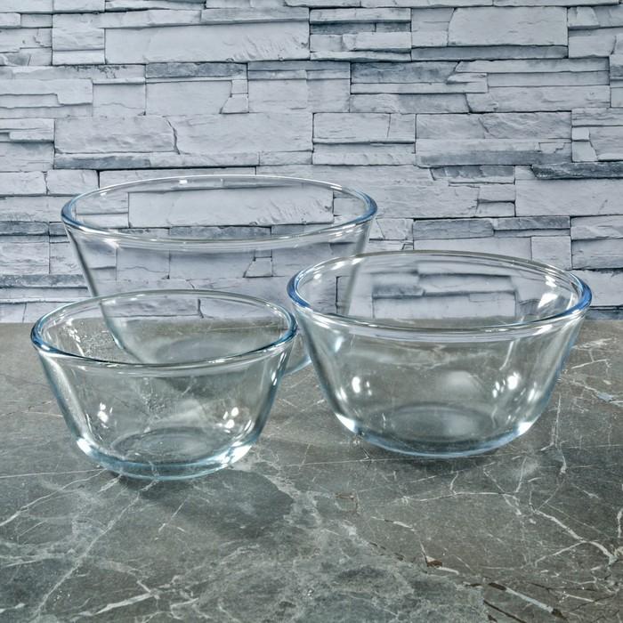 Набор мисок стеклянных термостойких, 3 шт: d=12 см (0,4 л), d=14,5 см (0,65 л), d=17 см (1,25 л)