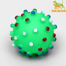 """Игрушка пищащая """"Бактерия"""" для собак, 6,3 см, зелёный"""