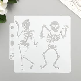 "Plastic stencil ""Dancing skeletons"" 13x14 cm"