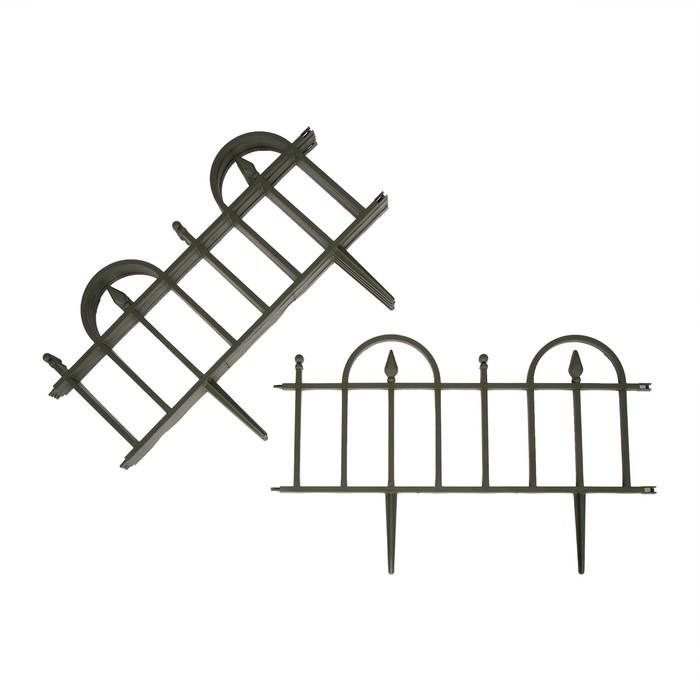 Ограждение декоративное, 14 х 310 см, 13 секций, пластик, жёлтое, «Домиком»