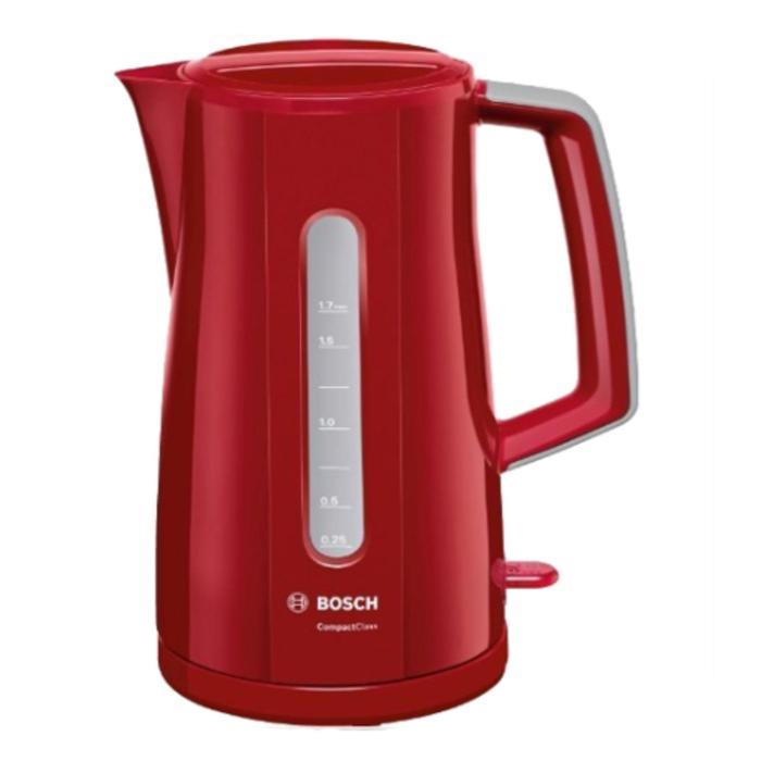 Чайник электрический Bosch TWK 3A014, пластик, 1.7 л, 2400 Вт, красный