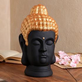 """Копилка """"Голова Будды"""", черная с золотом, 32 см"""
