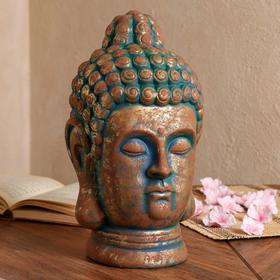 """Копилка """"Голова Будды"""", золотая с зеленой окисью, 32 см"""