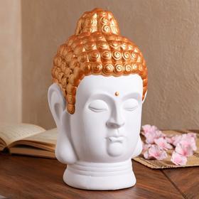 """Копилка """"Голова Будды"""", белая с золотом, 32 см"""