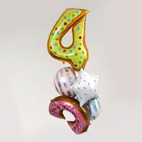 """Букет из шаров """"4 года, пончик."""", фольга,  набор из 5 шт."""