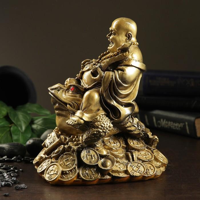 """Копилка """"Будда на жабе"""" антик, золото"""