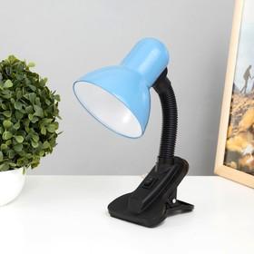 Настольная лампа на прищепке с кнопкой, голубая, провод 78 см Ош