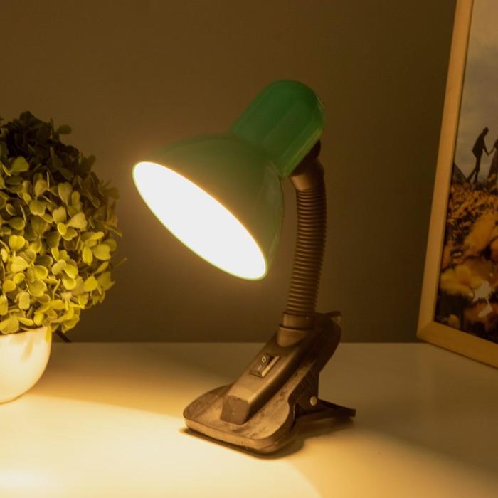 Настольная лампа на прищепке с кнопкой, зелёная