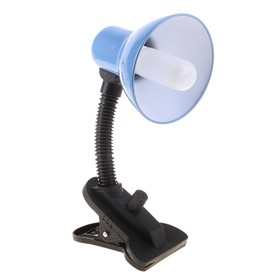 Blue desk lamp with clothespin Blue, with dimmer.