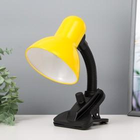 Лампа настольная Е27, светорегулятор на зажиме (220В) желтая (108А) Ош