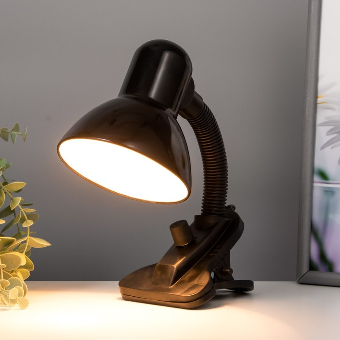 Лампа настольная на прищепке Dark чёрная, с регулятором освещения