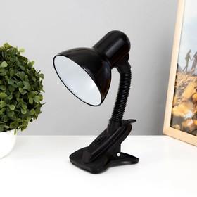 Лампа настольная Е27, с выкл. на зажиме (220В) черная (108В)