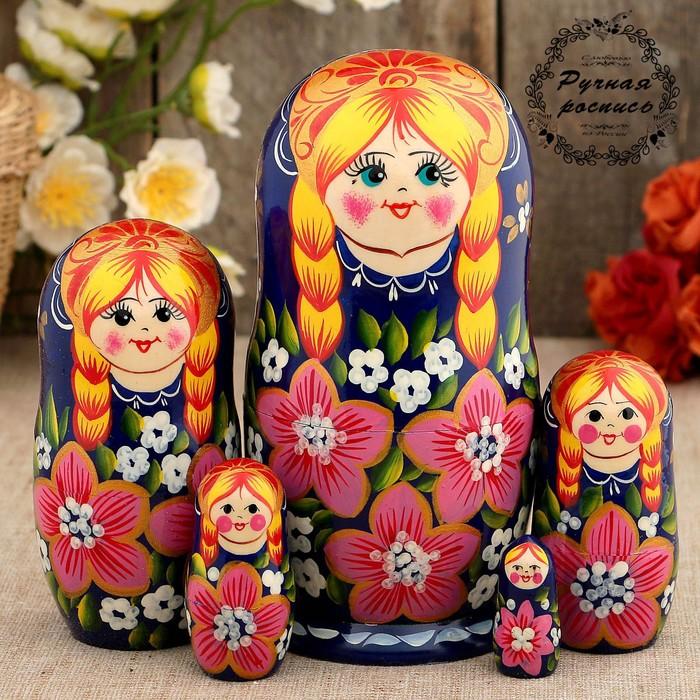 Матрёшка «Варенька», синий платок, 5 кукольная, 17 см