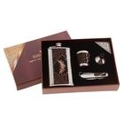 """Подарочный набор 4 в 1 """"Питон"""": фляжка 150 мл с ребрами, воронка, рюмка, нож 5 в 1"""