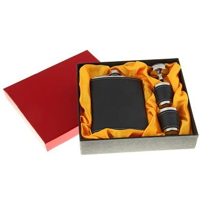 Набор 4в1 (фляжка 240 мл+воронка+2 рюмки), чёрный в полоску, 17х18 см