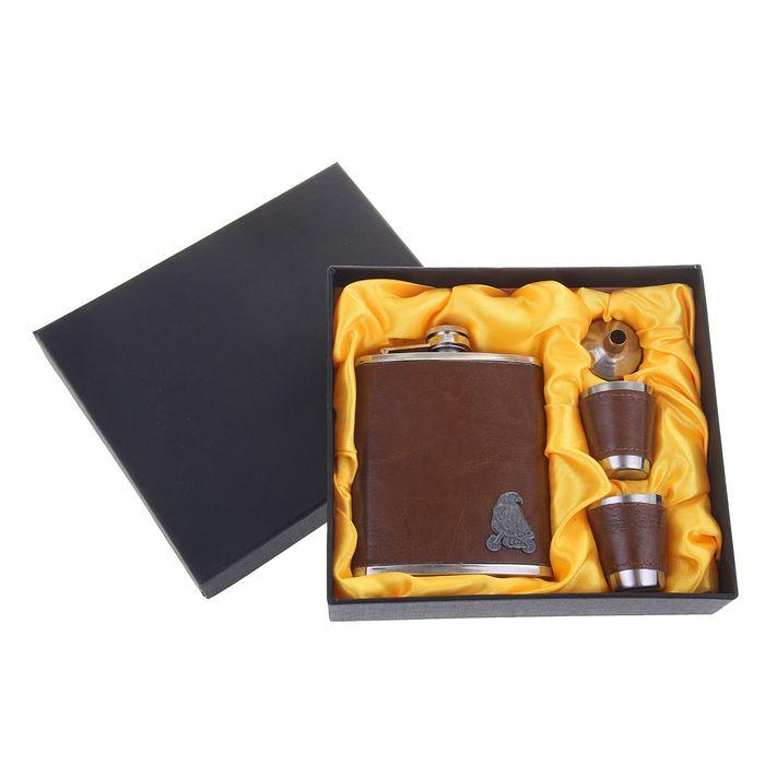 """Подарочный набор 4 в 1 """"Орёл на байке"""": фляжка 210 мл + 2 рюмки, воронка"""