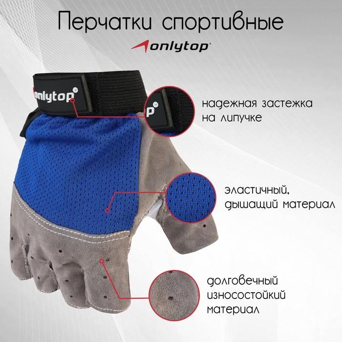Перчатки спортивные, размер L, цвет синий
